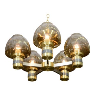Lightolier Two-Tone Brass Chandelier For Sale