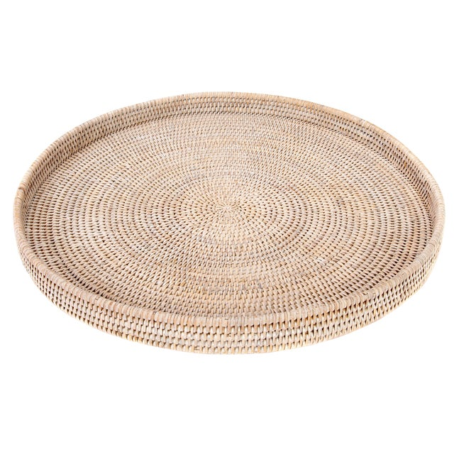Artifacts Rattan Round Ottoman Tray For Sale