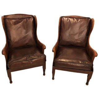 Pair of Fine Leather Lounge or Bergere Wingback Chairs For Sale