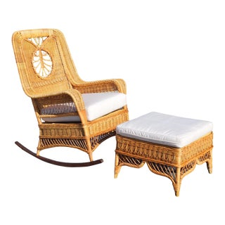 Ralph Lauren Rocking Chair & Foot Stool For Sale