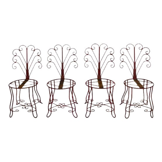 1950's Vintage French Iron Garden Chairs- Set of 4 For Sale