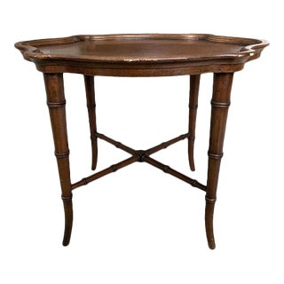 1970's Hekman Chinoiserie Faux Bamboo Accent Table For Sale