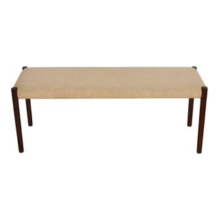 Danish Modern Rosewood Upholstered Bench by Niels Møller For Sale