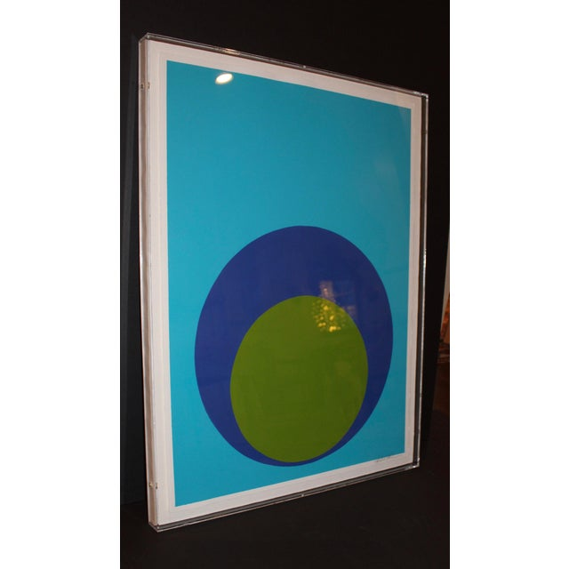 Contemporary Double Dot on Turquoise in Acrylic Box For Sale - Image 3 of 7