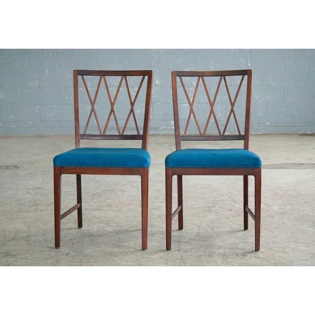 Set of Ten Danish Chairs in Rosewood Stained Beech Attributed to Ole Wanscher For Sale - Image 9 of 10