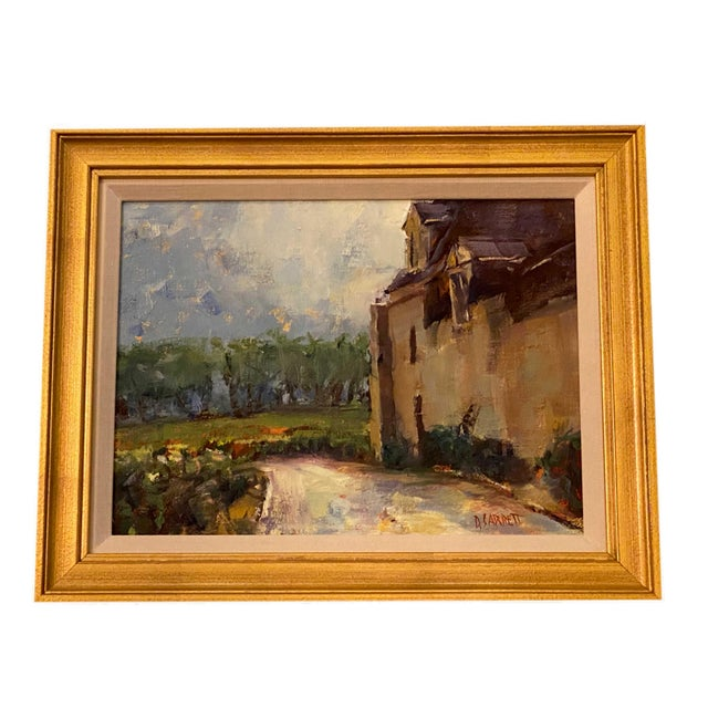 """Painting of French country side signed lower right. In a gilt frame. 14"""" Wide x 13"""" High"""