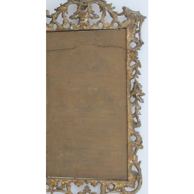 Gold An Elegant and Superbly-Carved English George II Gilt-Wood Mirror With Elaborate Foliate Crest For Sale - Image 8 of 9
