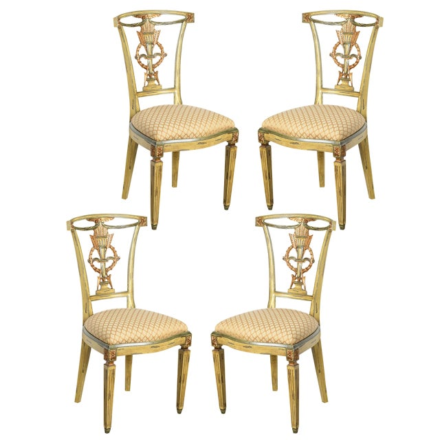 Italian Louis XVI Style Painted and Gilt Wood Chairs, Set- of 4 For Sale