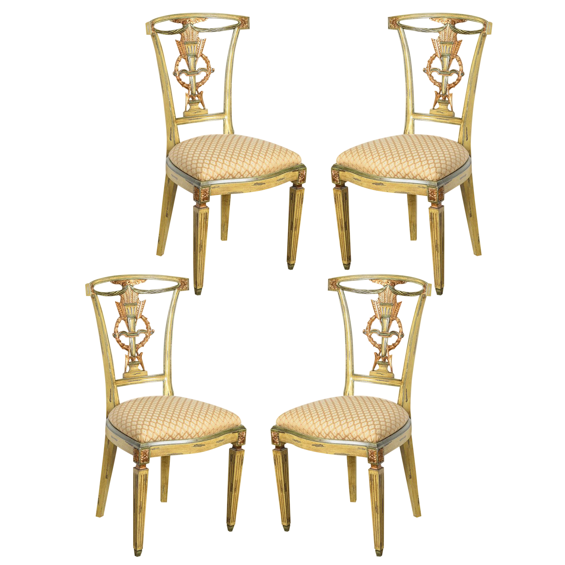 Delicieux Italian Louis XVI Style Painted And Gilt Wood Chairs, Set  Of 4