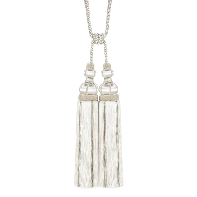 """White Ivory Double Tassel Tieback With Cut Ruche - Tassel Height 17"""" For Sale - Image 8 of 8"""