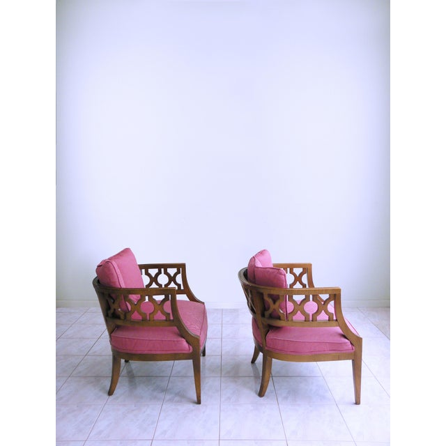 Textile Mid Century Pink Lattice Back Barrel Chairs After William Billy Haines - a Pair For Sale - Image 7 of 9