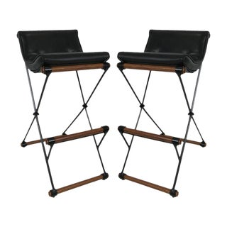 Pair of Iron and Oak Bar Stools by Cleo Baldon for Terra For Sale