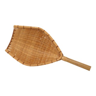 Vintage Bamboo and Rattan Grain Scoop For Sale