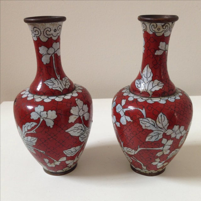 Red Cloisonne Vases - Pair - Image 4 of 11