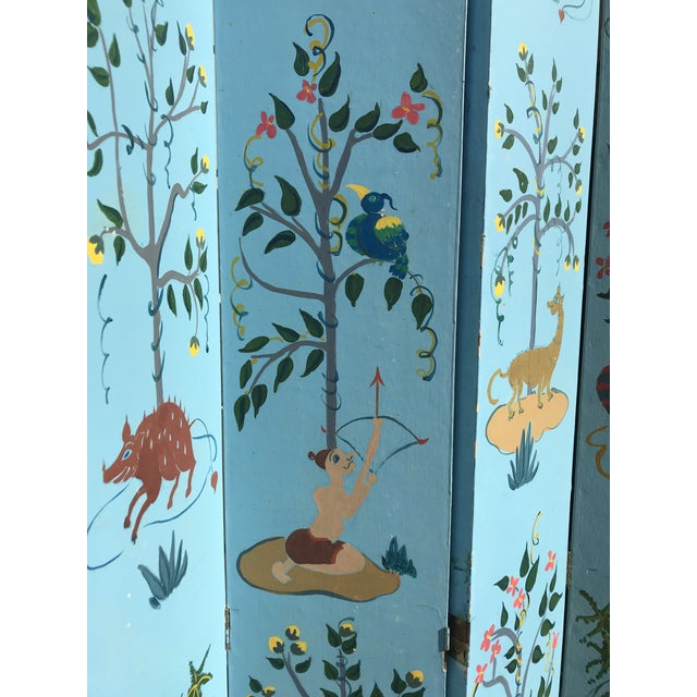 Asian 1960s Tall Hand Painted Indochine Wood Screen For Sale - Image 3 of 11
