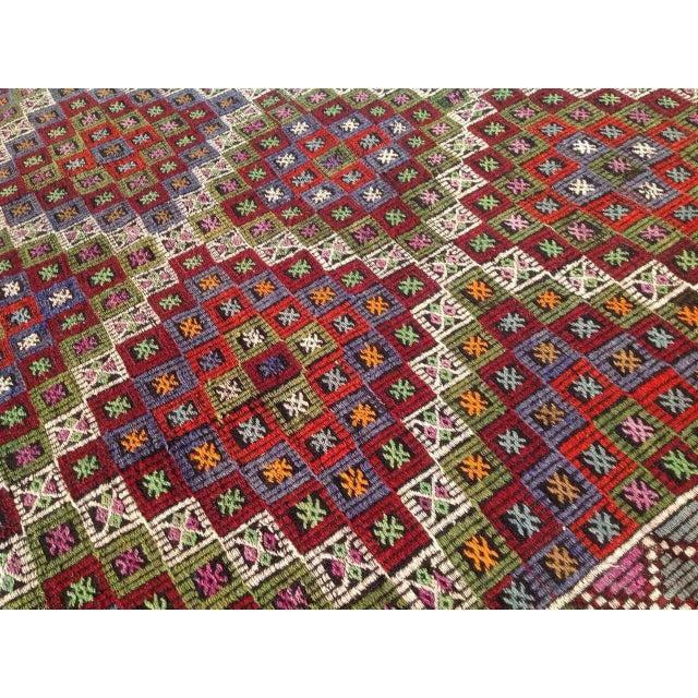 "Vintage Turkish Kilim Rug - 6'9"" X 10'4"" For Sale In Raleigh - Image 6 of 8"