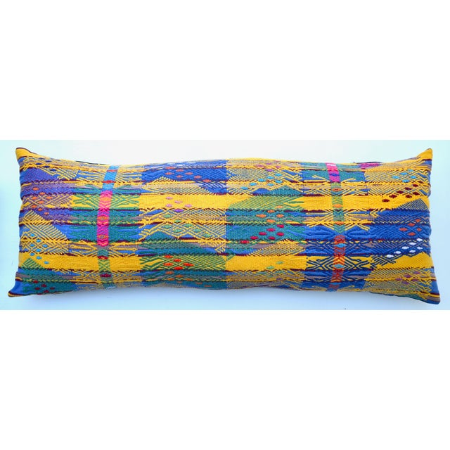 "Hand Embroidered Guatemalan Long Pillow Pair 38"" X 13"" For Sale - Image 4 of 6"
