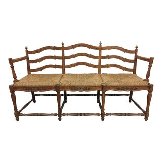 French Farmhouse 3 Seater Bench-Rush Seats