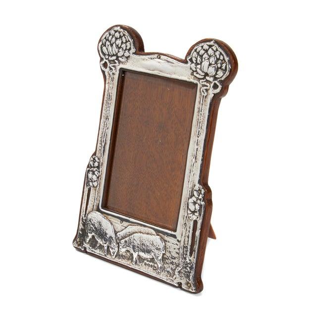 Art Nouveau Pair of Art Nouveau Sterling Silver Pastoral Scene Picture Frames For Sale - Image 3 of 4