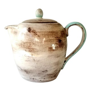 Santa Anita Ware Vintage Turquoise and Brown Teapot For Sale