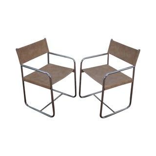 Mid Century Modern Tubular Frame Arm Chairs - Pair