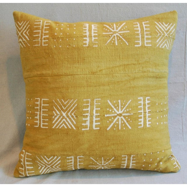 Handwoven Gold & Cream Tribal Down & Feather Pillow - Image 4 of 6