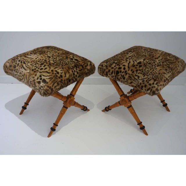 Biedermeier Pair of Vintage Biedermeier Style X-Stools With Faux Fur Upholstery For Sale - Image 3 of 11