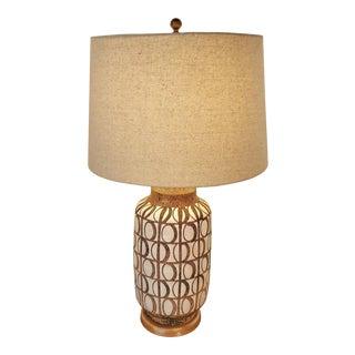 1960s Italian Geometric Pattern Ceramic Table Lamp For Sale