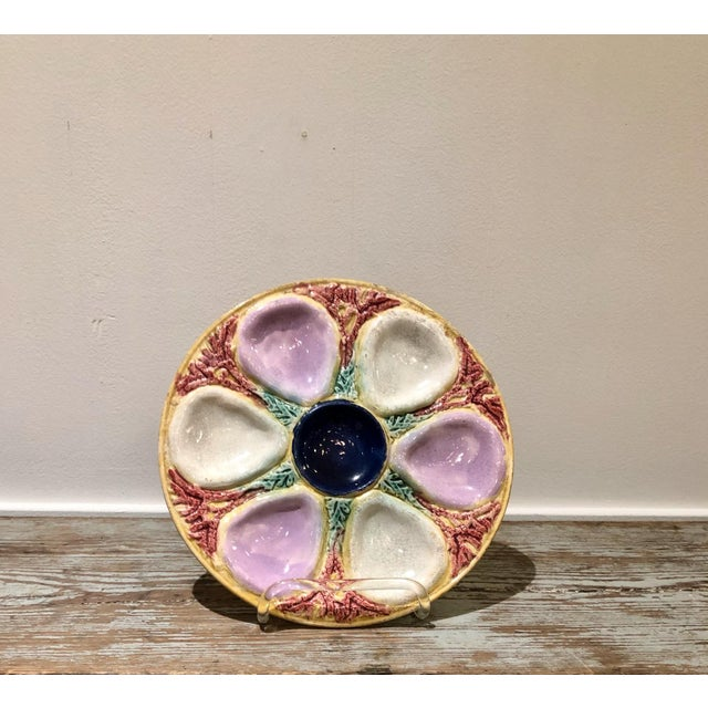 1900 - 1909 Majolica Oyster Plate, England Circa 1900 For Sale - Image 5 of 5