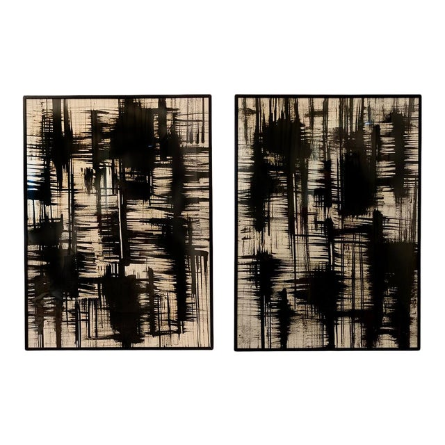 Contemporary Black and White Ink Paintings, Framed - Set of 2 For Sale
