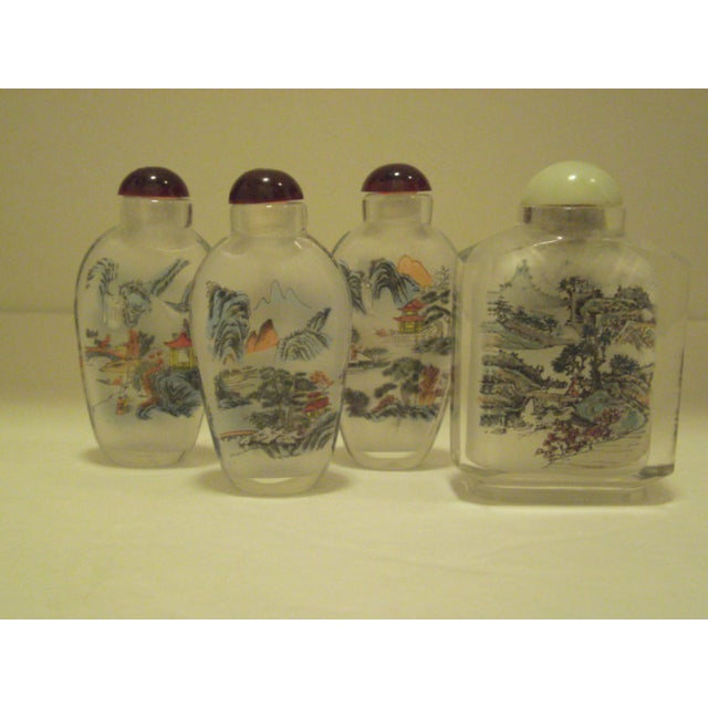 Peking Back Painted Glass Bottles - Set of 4 - Image 2 of 11