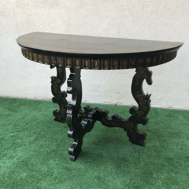 Late 20th Century Vintage Hand Painted Ebony & Gold Demi-Lune Table For Sale In Los Angeles - Image 6 of 8