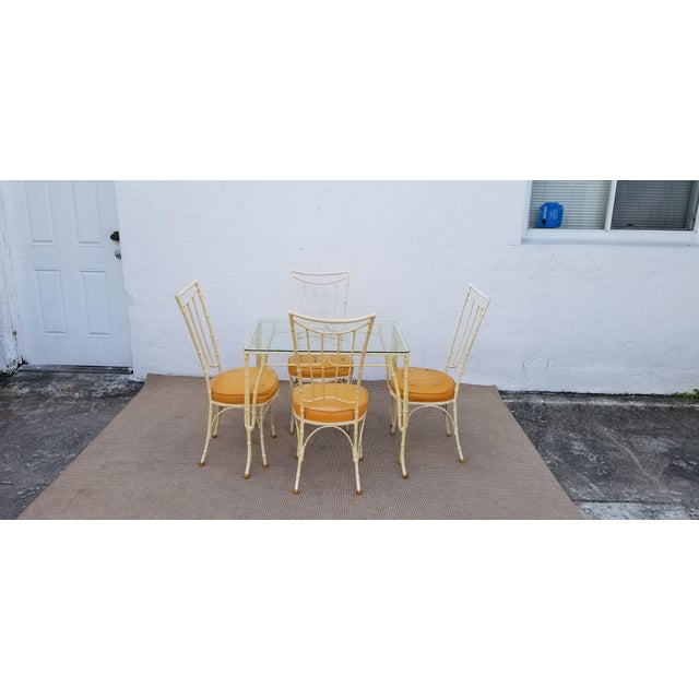 1960s Vintage Brown Jordan Style Faux Bamboo Aluminum Outdoor Dining- Set of 5 For Sale - Image 13 of 13