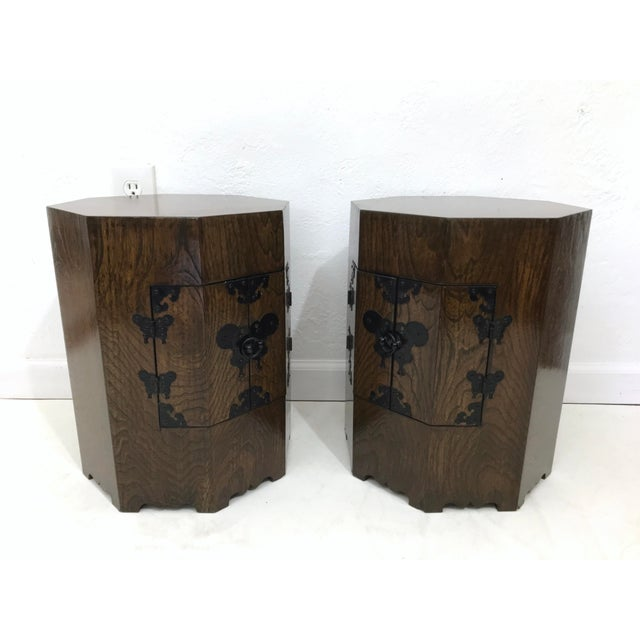 "Mid 20th Century Pair of Vintage Chinese ""Calligraphy"" Wood Cabinets, Nightstands, Side Tables, Pedestals For Sale - Image 5 of 8"
