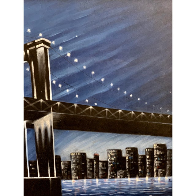 Jazz Band Under the Brooklyn Bridge New York City Painting For Sale - Image 4 of 7