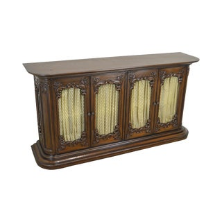 French Country Vintage Carved Narrow Credenza Display Console Sideboard For Sale