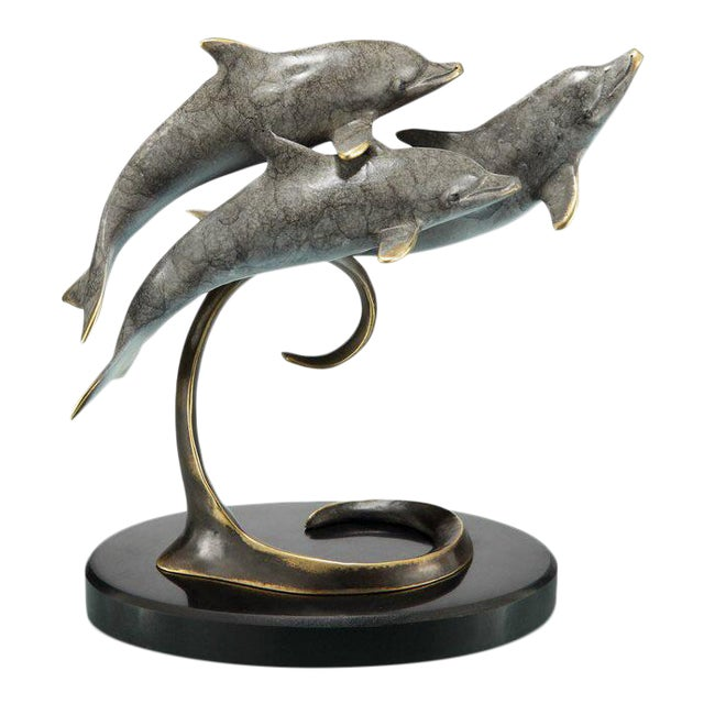 Swimming Dolphins Sculpture For Sale