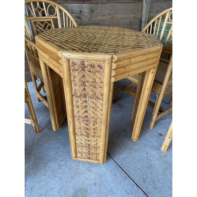 Vintage Brighton Pavilion Style Bamboo and Wicker Weave Table Four Chairs For Sale - Image 10 of 13