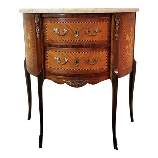 French Louis XVI Mahogany Demilune Bombe Chest of Drawers For Sale