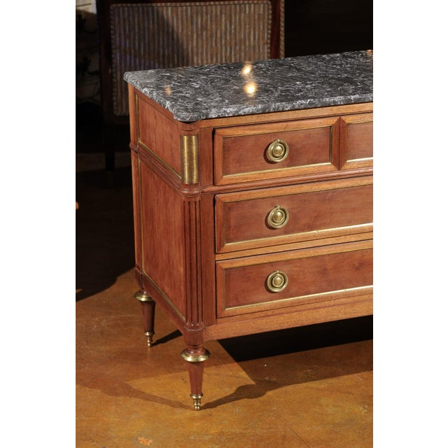French Louis XVI Style Late 19th Century Grey Marble Top Three-Drawer Commode For Sale - Image 9 of 12