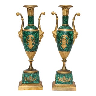 Early 18th Century Neoclassical Empire Period Russian Malachite and Dore Bronze Vases - a Pair For Sale