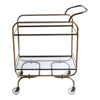 Mid-Century Brass Bar Cart For Sale