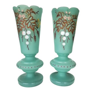 Victorian Hand Painted Blue Green Bristol Frosted Glass Vases - a Pair For Sale