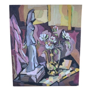 Unframed Figurine With Vase Still Life Painting on Board For Sale