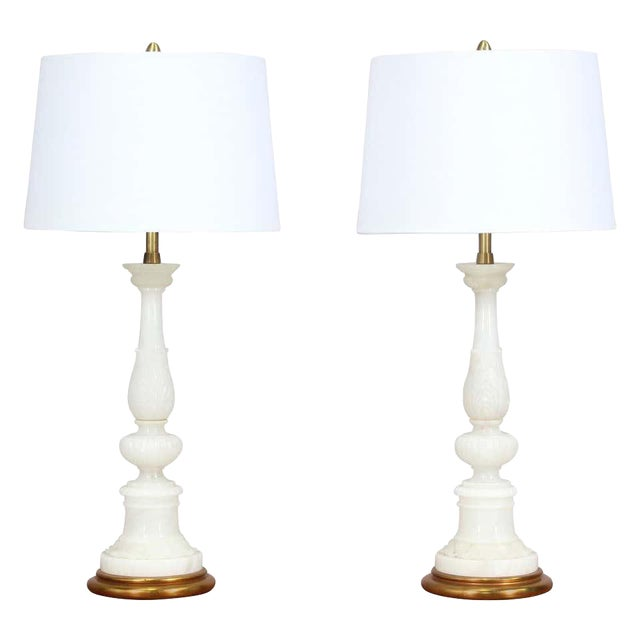 Italian Vintage Carved Alabaster Lamps - a Pair For Sale