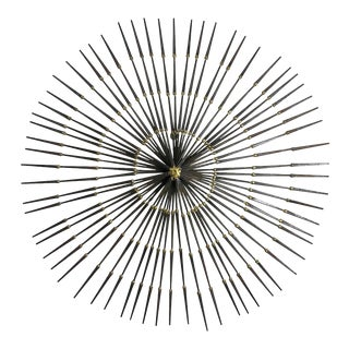 Vintage 1970s Brutalist Welded Nail Starburst Wall Sculpture For Sale