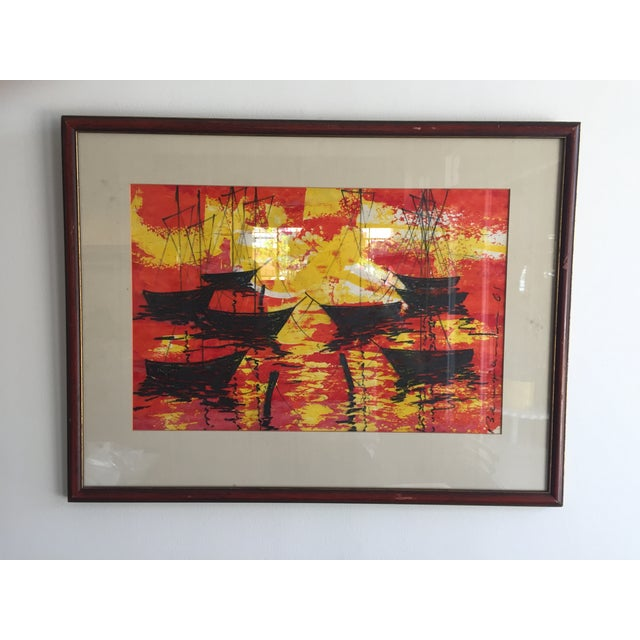 Mid-Century Modern Signed Water Color Painting - Image 2 of 11