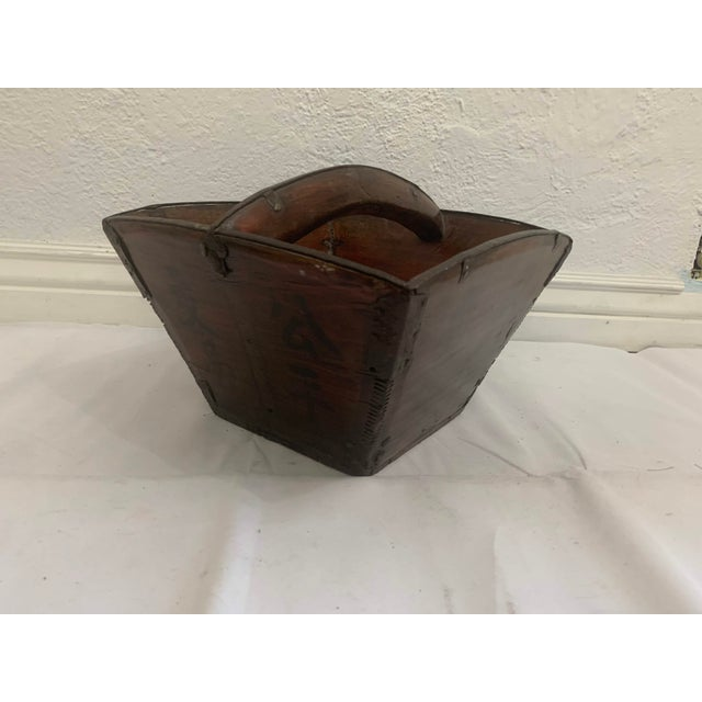 Antique Chinese Rice Measure Basket With Great Patina and Faded Characters For Sale - Image 4 of 13