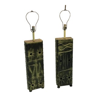 Brutalist Hand-Painted Steel Lamps - A Pair