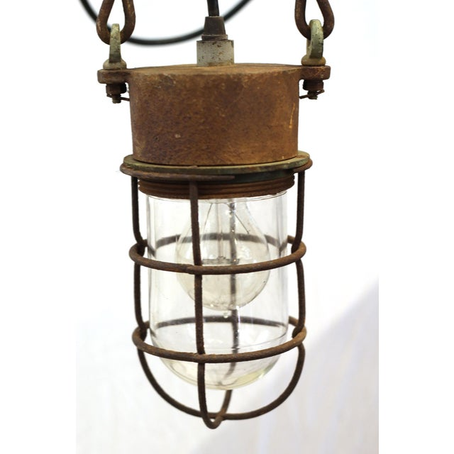 1930s Industrial Caged Pendant Light - Image 2 of 4